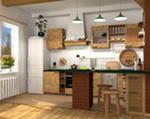 Отделка кухни загородного деревянного дома